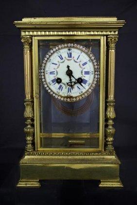 Brass Mantel Clock With Hanging Pendulum