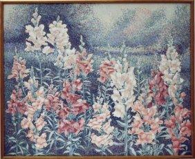 Framed Oil Painting Of Flowers