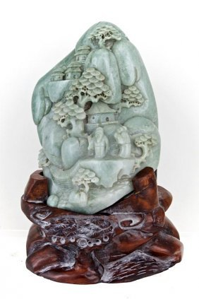 Burma Jade Boulder On Stand