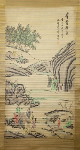 Chinese Landscape Print Scroll