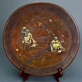 Japanese Gold Inlaid Bronze Charger, Meiji Period