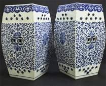 PAIR OF ANTIQUE CHINESE BLUE & WHITE GARDEN SEATS
