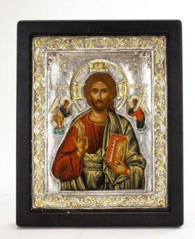 Greek Orthodox Silver & Gold Russian Saint Icon