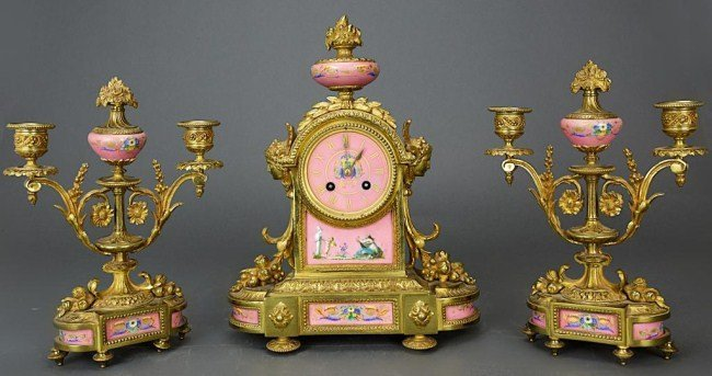 19TH CENTURY THREE-PIECE FRENCH MANTEL CLOCK SET