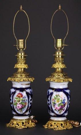 Pair Of Gilt Bronze Mounted Paris Porcelain Vases