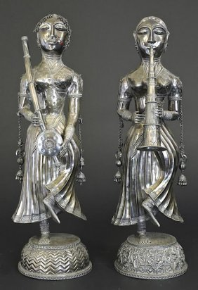 Pair Of Indian Silver Figures With A 900 Mark