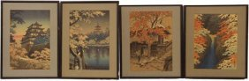 Four Japanese Framed Woodblock Prints