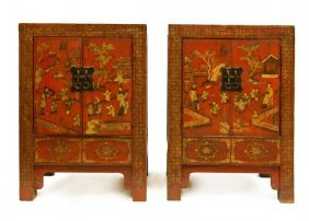 Pair Of Antique Chinese Two Door Cabinets