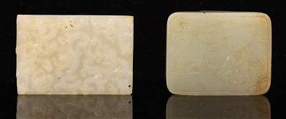 TWO PIECES OF CHINESE CARVED JADE PENDANT