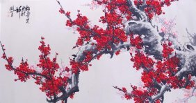 Large Chinese Painting On Paper Of Plum Blossom