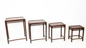 Antique Chinese Carved Wood Nesting Side Tables