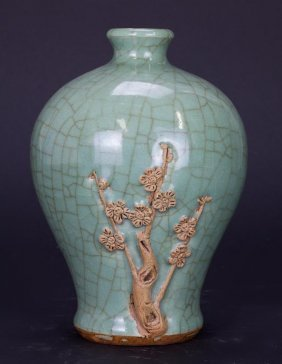 Chinese Celadon Crackleware Meiping Vase