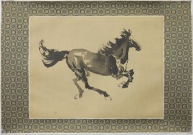 Chinese Print On Silk Of A Horse