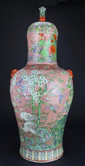 Imposing Chinese Famille Rose Lidded Vase