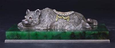 """BEJEWELED RUSSIAN SILVER INKWELL, MARKED """"FABERGE"""""""