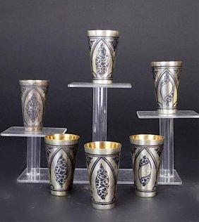 Set Of Six Russian Silver-gilt Beakers
