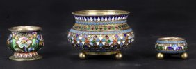 Three Russian Silver-gilt Enamel Bowls