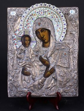 Russian Silver-gilt And Cloisonne Enamel Icon