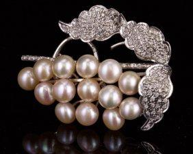 14k White Gold Pin With Diamond