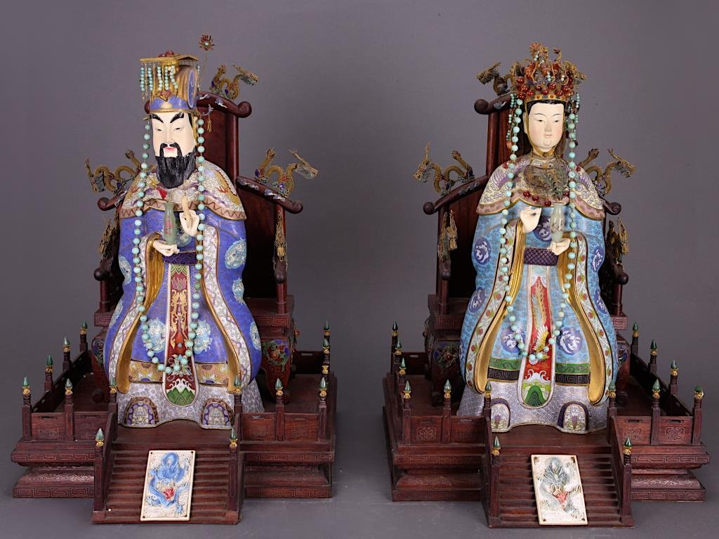 LARGE CHINESE CLOISONNE EMPEROR AND EMPRESS FIGURES