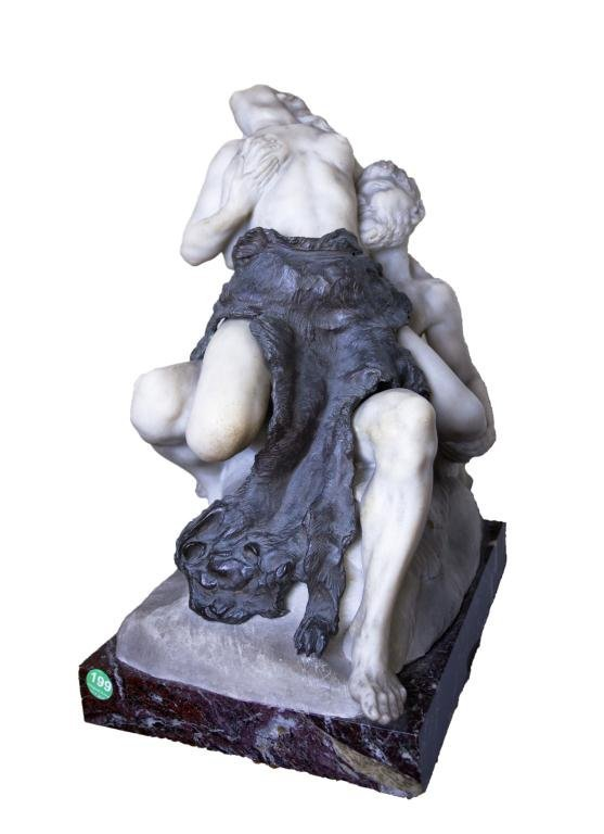 MARBLE AND BRONZE STATUE DEPICTING AN EROTIC SCENE