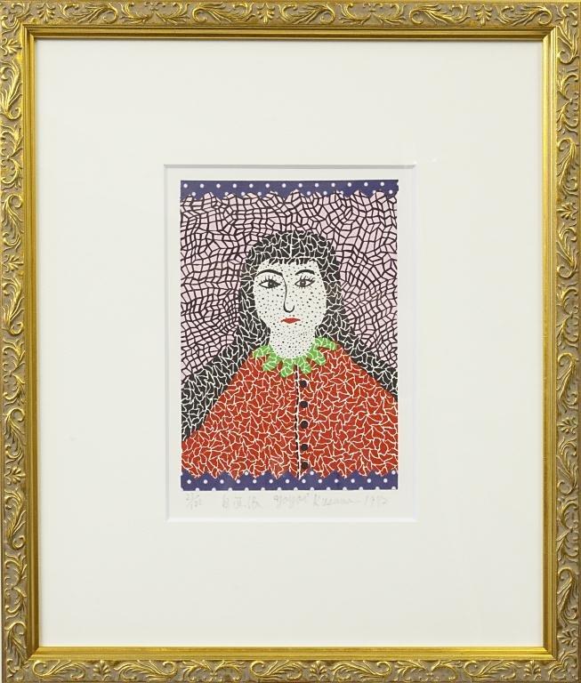 YAYOI KUSAMA LITHOGRAPH PRINT OF A WOMAN