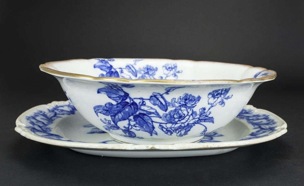 BLUE AND WHITE BOWL AND PLATTER