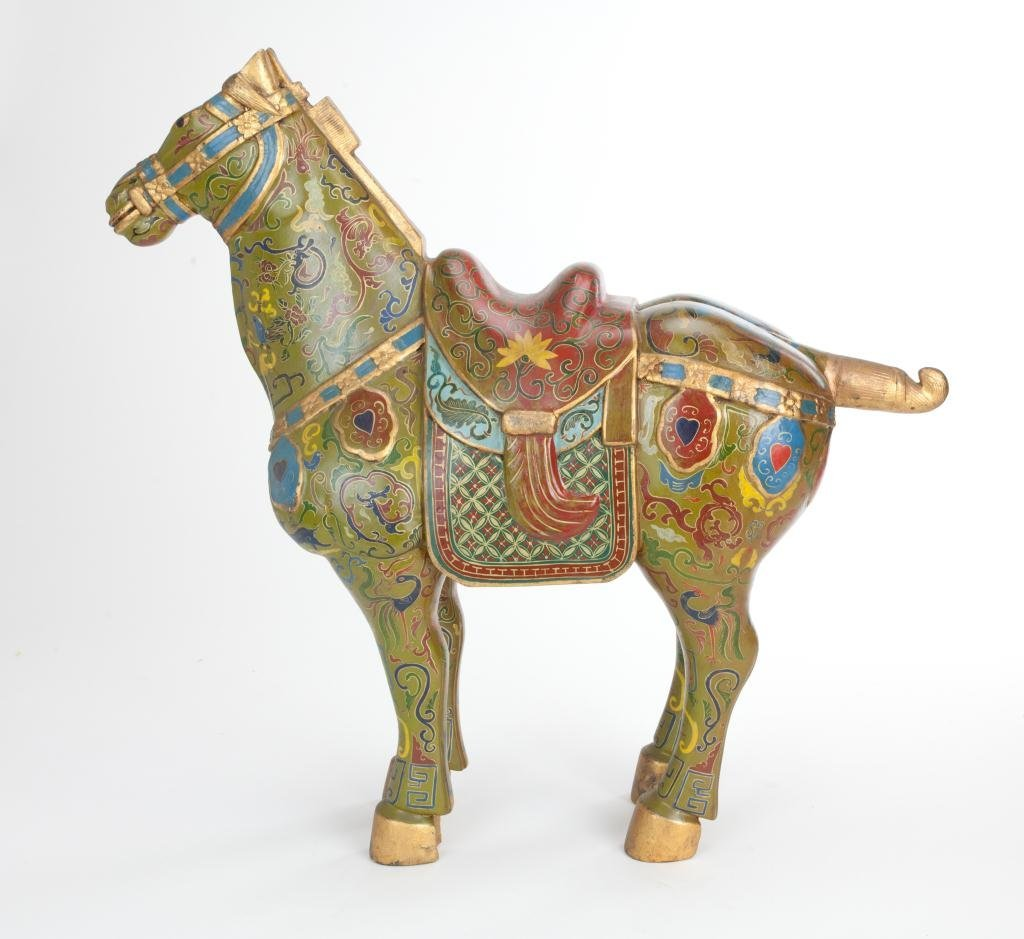 CHINESE LARGE PAINTED WOOD HORSE