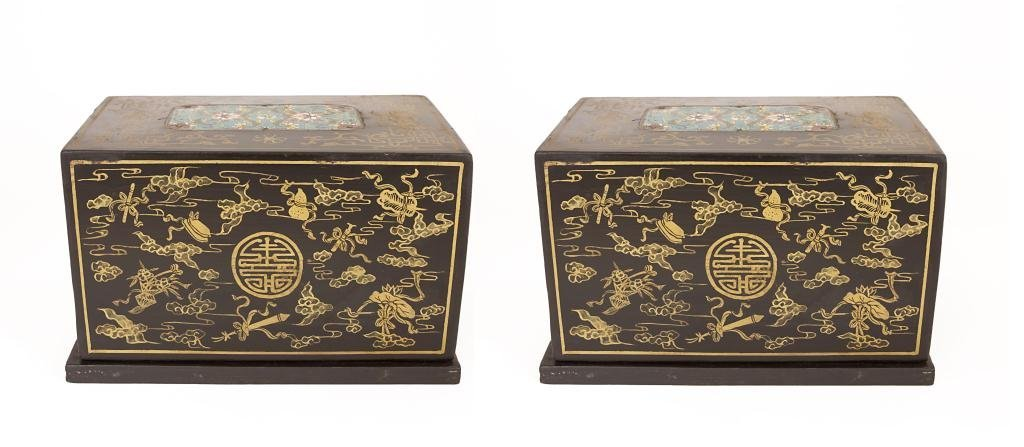 PAIR OF CHINESE CLOISONNE AND BLACK LACQUER BOXES