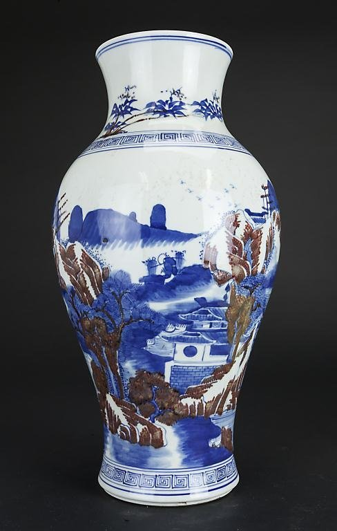 CHINESE BLUE AND WHITE, IRON RED VASE