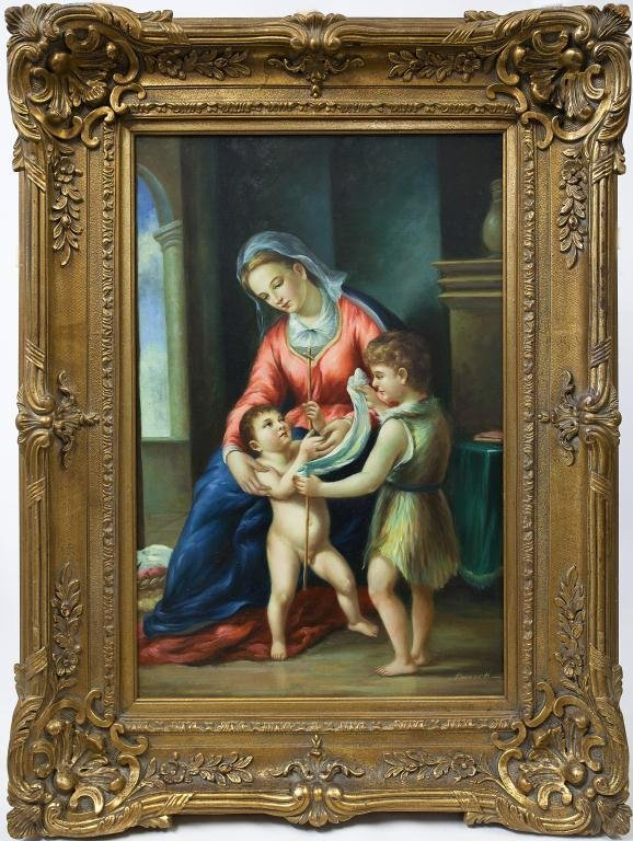 LARGE FRAMED PAINTING OF WOMAN & HER CHILDREN