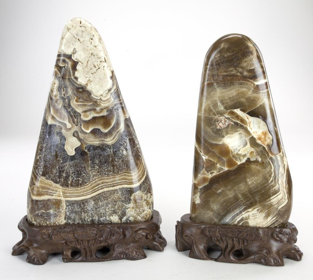 PAIR OF CHINESE YUHUA STONES WITH WOODEN STANDS
