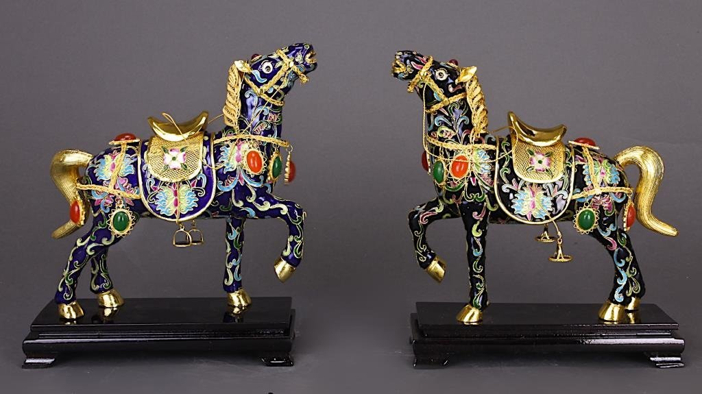 PAIR OF CHINESE ENAMELED HORSES WITH STANDS
