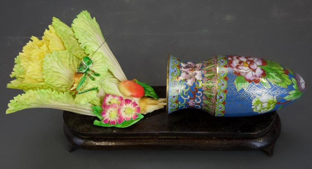 CHINESE CARVED BONE CABBAGE IN CLOISONNE VASE