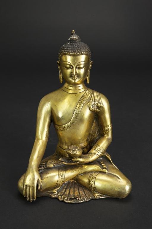 SMALL CHINESE BRONZE SEATED BUDDHA