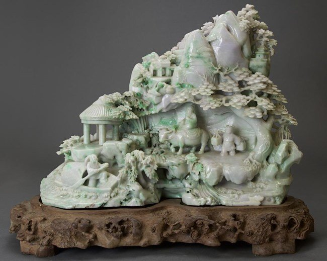 MASSIVE CHINESE CARVED JADE BOULDER ON WOOD STAND
