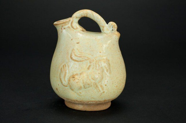 CHINESE WATER JAR WITH HORSE MOTIF
