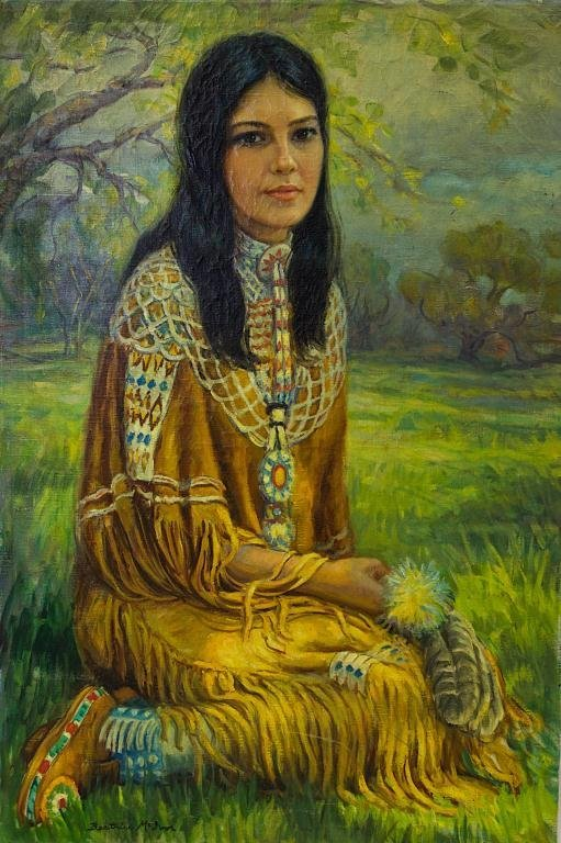 OIL ON CANVAS PAINTING OF A NATIVE AMERICAN WOMAN