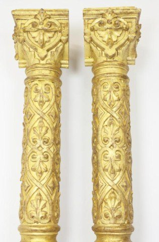 PAIR OF LARGE HAND CARVED RUSSIAN GILTWOOD COLUMNS - 2