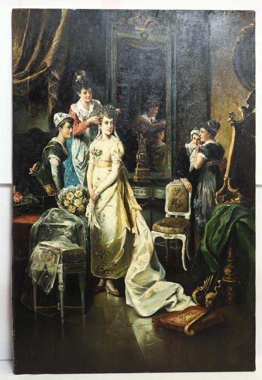 OIL ON CANVAS PAINTING OF A BRIDE