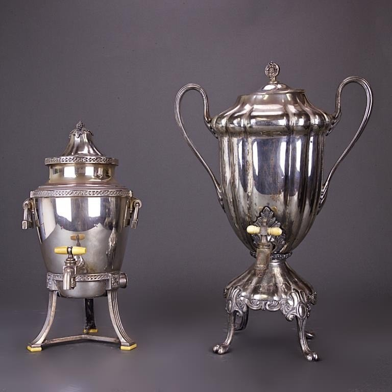TWO SILVER PLATED SAMOVAR COFFEE URNS