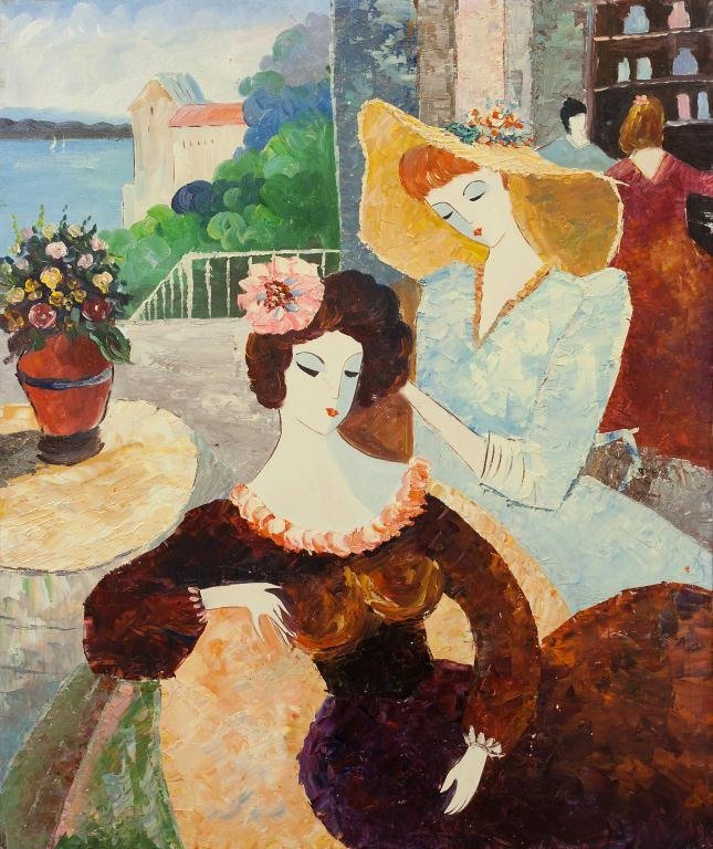 PAINTING OF TWO LOUNGING WOMEN