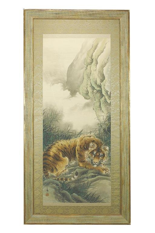 FRAMED CHINESE WATERCOLOR PAINTING OF A TIGER