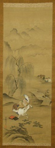 JAPANESE SCROLL PAINTING OF AN OLD MAN