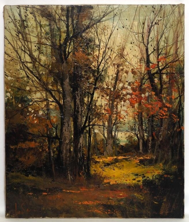 OIL PAINTING OF AN AUTUMN FOREST ON CANVAS