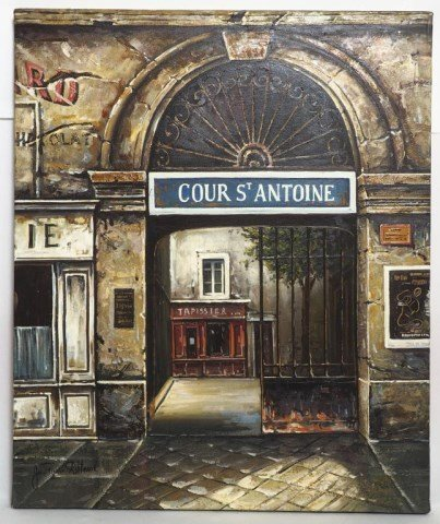OIL ON CANVAS PAINTING OF COUR ST ANTOINE