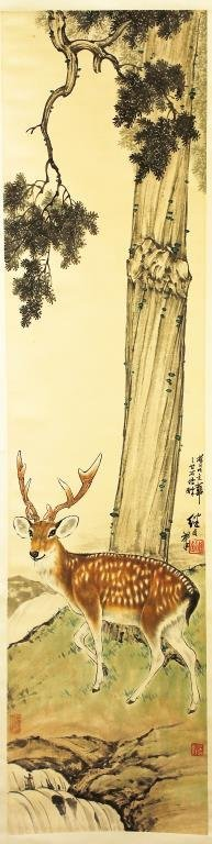 CHINESE SCROLL PAINTING OF A DEER