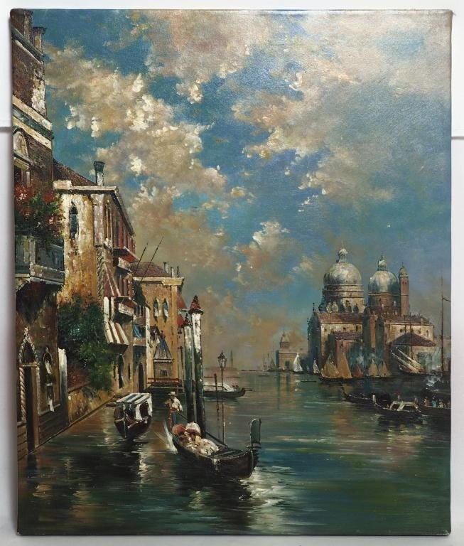 CLOUDY CANAL CITY OIL ON CANVAS PAINTING