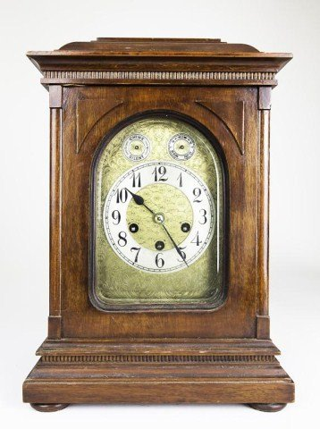 WOODEN CLOCK WITH BRASS FACE