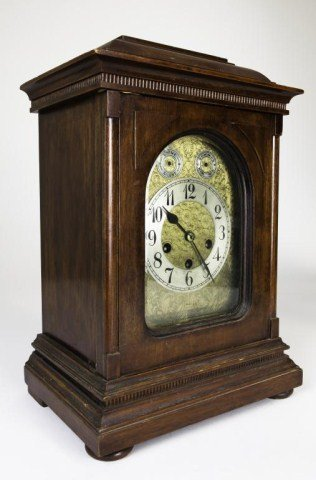 WOODEN CLOCK WITH BRASS FACE - 3
